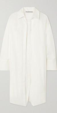 Layered cotton shirt dress