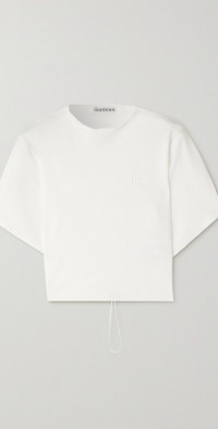 Omega cropped open-back cotton-jersey T-shirt