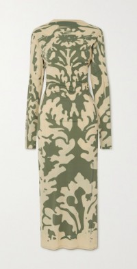 Open-back printed stretch-mesh maxi dress
