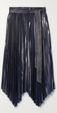 Anne belted asymmetric plissé-lamé midi skirt