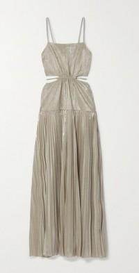 Daisy cutout plissé-lamé maxi dress