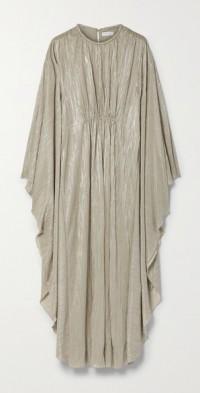 Farrah draped plissé-lamé gown