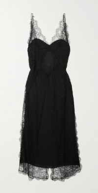 Ash lace-trimmed silk crepe de chine midi dress