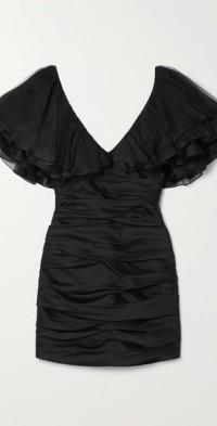 Carmen tulle and silk organza-trimmed satin-crepe mini dress