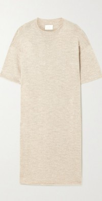 Bateau merino wool and Pima cotton-blend midi dress