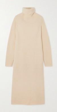 Cashmere-blend turtleneck maxi dress