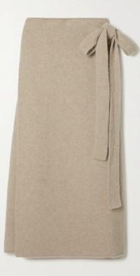 Cashmere-blend wrap skirt