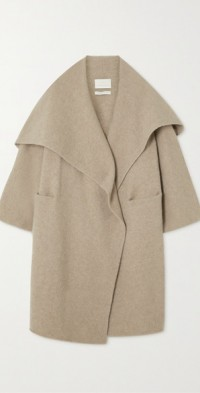 Draped cashmere-blend coat