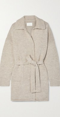 Oversized belted merino wool and Pima cotton-blend cardigan
