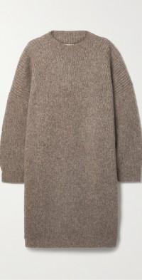 Oversized Pima cotton, alpaca and wool-blend midi dress