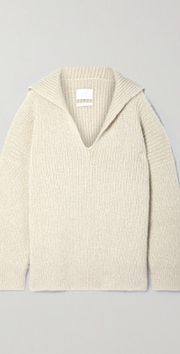 Oversized ribbed Pima cotton, alpaca and wool-blend sweater