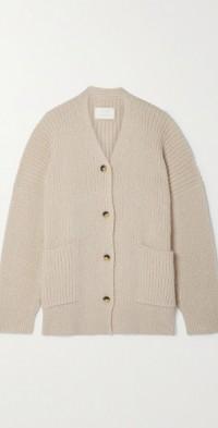 Ribbed Pima cotton, alpaca and wool-blend cardigan