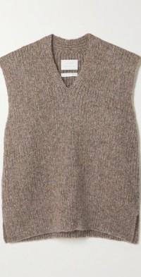Ribbed Pima cotton, alpaca and wool-blend tank