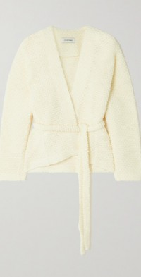 Belted wool-bouclé wrap cardigan