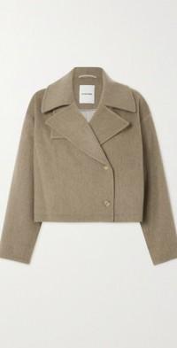 Oversized cropped wool-blend jacket