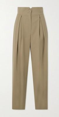 Pleated wool-blend straight-leg pants
