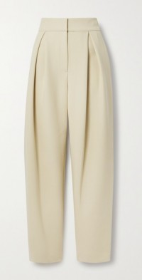 Pleated woven tapered pants