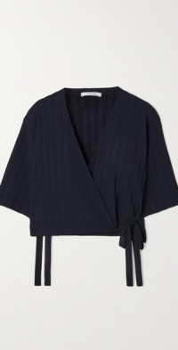 Ribbed-knit wrap top