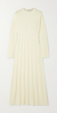 Ribbed wool-blend maxi dress