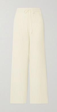 Ribbed wool straight-leg pants