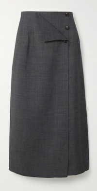 Wrap-effect woven midi skirt