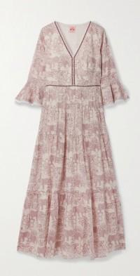 Bella tiered chiffon-trimmed printed cotton maxi dress