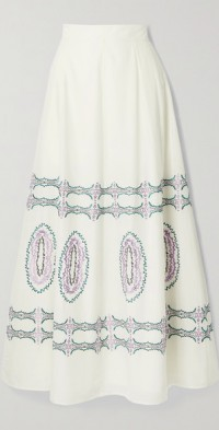 Camille embroidered cotton-voile maxi skirt