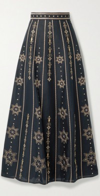 Camille Palazzina embroidered cotton-poplin skirt
