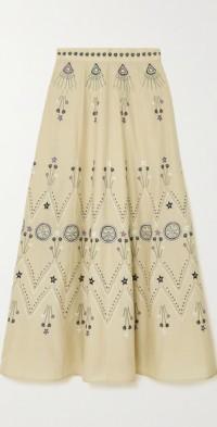 Camille Stromboli embroidered cotton-poplin maxi skirt