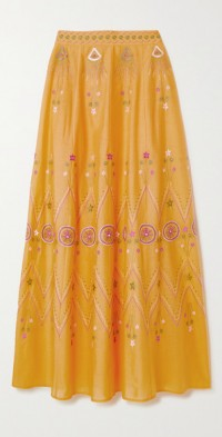 Camille Stromboli embroidered cotton-voile maxi skirt