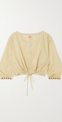 Jinny Stromboli cropped embroidered cotton-poplin top
