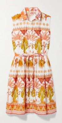 Meg belted printed cotton-poplin mini dress