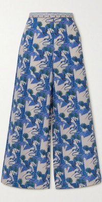 Natalie Love Story printed cotton-poplin wide-leg pants