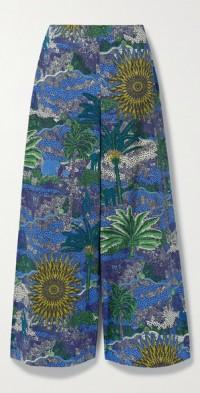 Natalie printed cotton-poplin wide-leg pants