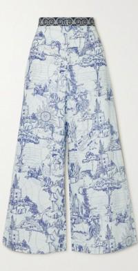 Natalie Tarocchi printed cotton-poplin wide-leg pants