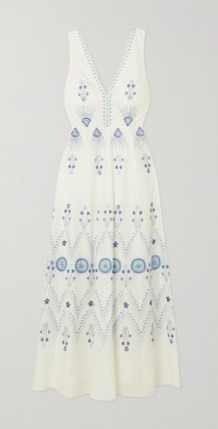 Nellie Stromboli embroidered cotton maxi dress