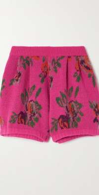 Intarsia wool-blend shorts