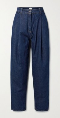 Toteness pleated high-rise tapered jeans