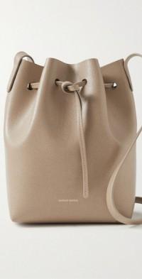 Classic mini textured-leather bucket bag