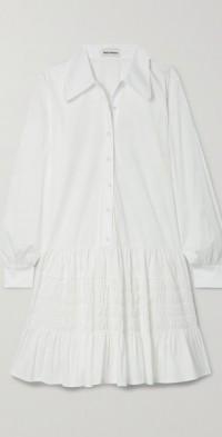 Clover shirred cotton-blend poplin shirt dress