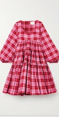 Kwame tiered ruffled tartan cotton-blend mini dress