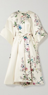 Belted floral-print duchesse-satin coat