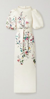 Belted floral-print duchesse-satin gown