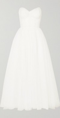 Brie strapless ruched Swiss-dot tulle gown