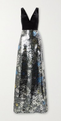 Floral-print sequined tulle and velvet gown