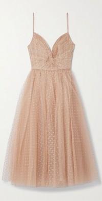 Gathered glittered tulle midi dress
