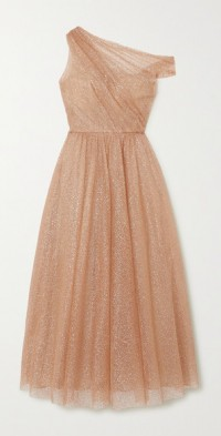 One-shoulder glittered tulle gown