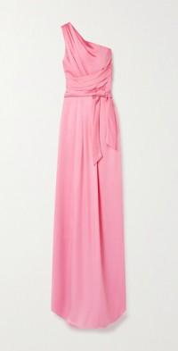 One-shoulder satin gown