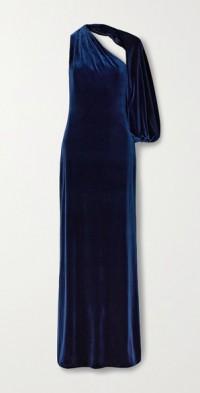 One-sleeve velvet gown