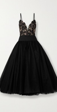 Satin-trimmed guipure lace and tulle gown